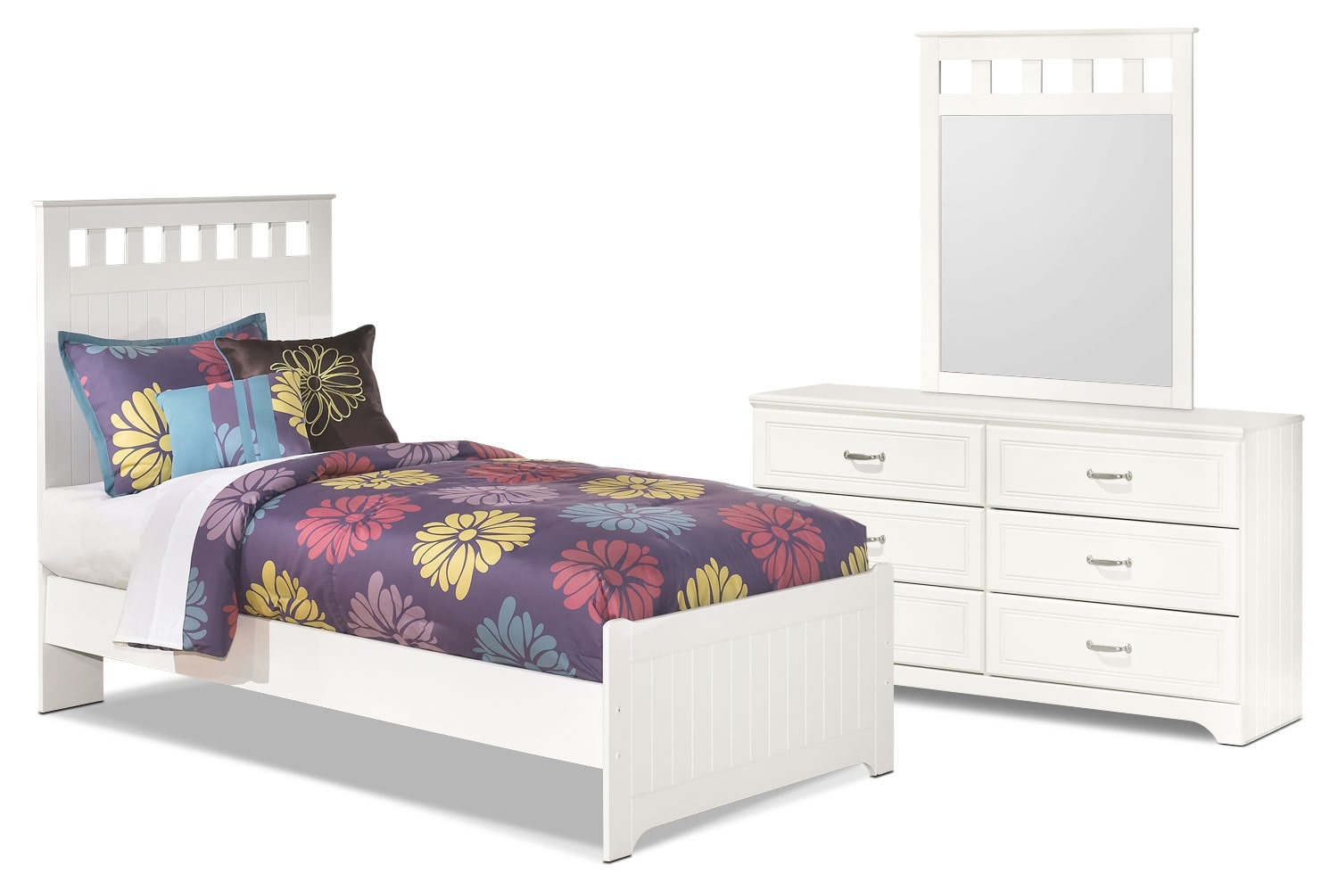 Kids Furniture - Lulu 5-Piece Twin Panel Bedroom Package