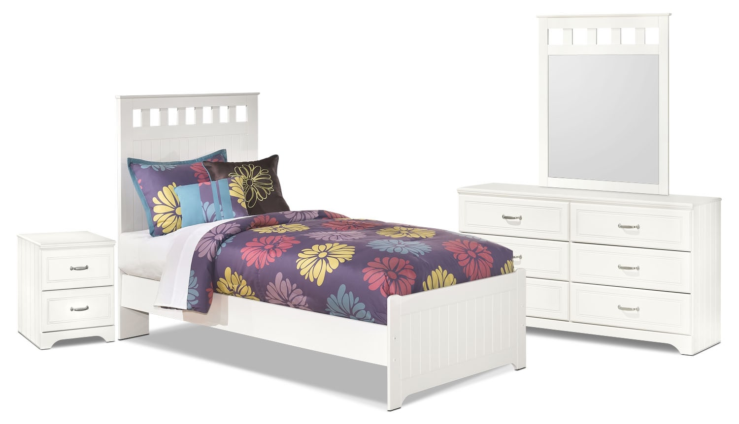 Kids Furniture - Lulu 6-Piece Twin Panel Bedroom Package