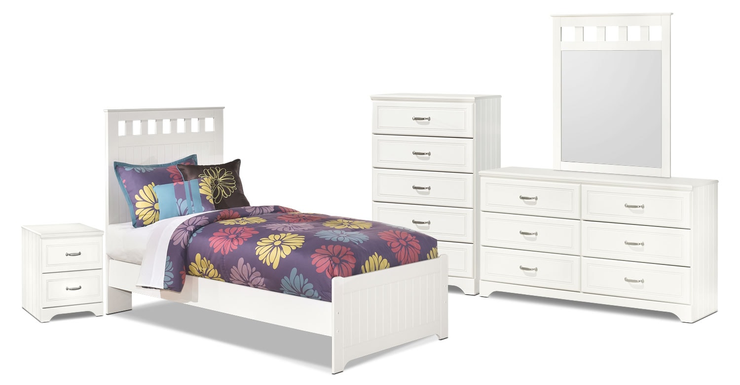 Kids Furniture - Lulu 7-Piece Twin Panel Bedroom Package