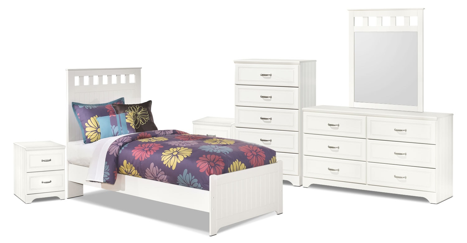 Kids Furniture - Lulu 8-Piece Twin Panel Bedroom Package