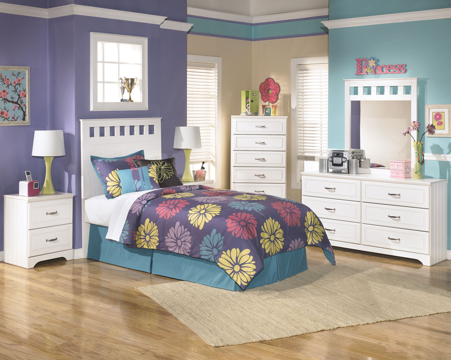 Bedroom Furniture - Lulu 5-Piece Full Panel Headboard Package