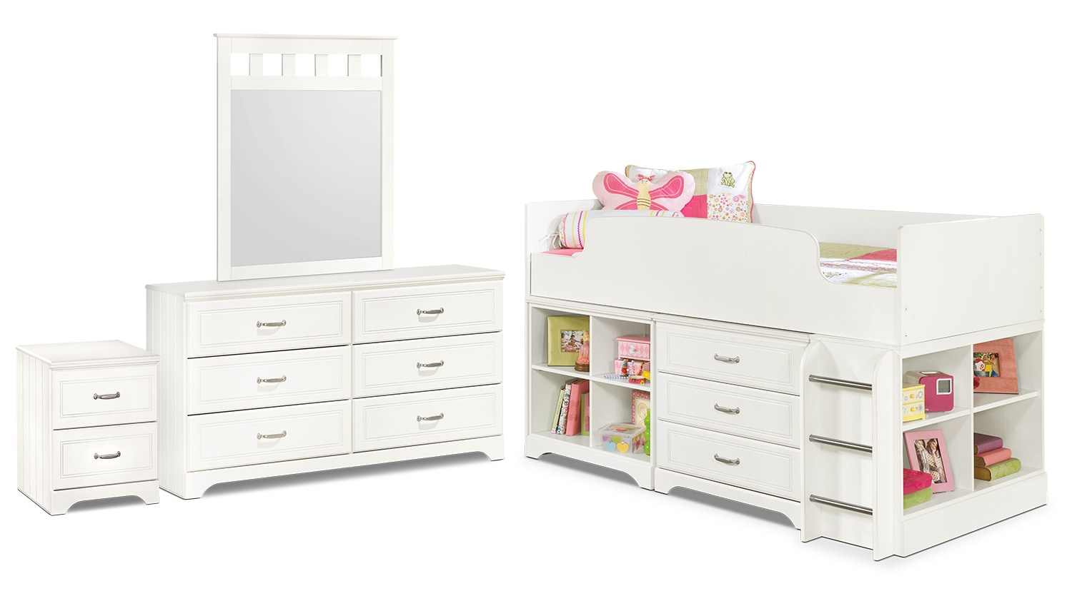 Kids Furniture - Lulu 6-Piece Twin Loft Bedroom Package