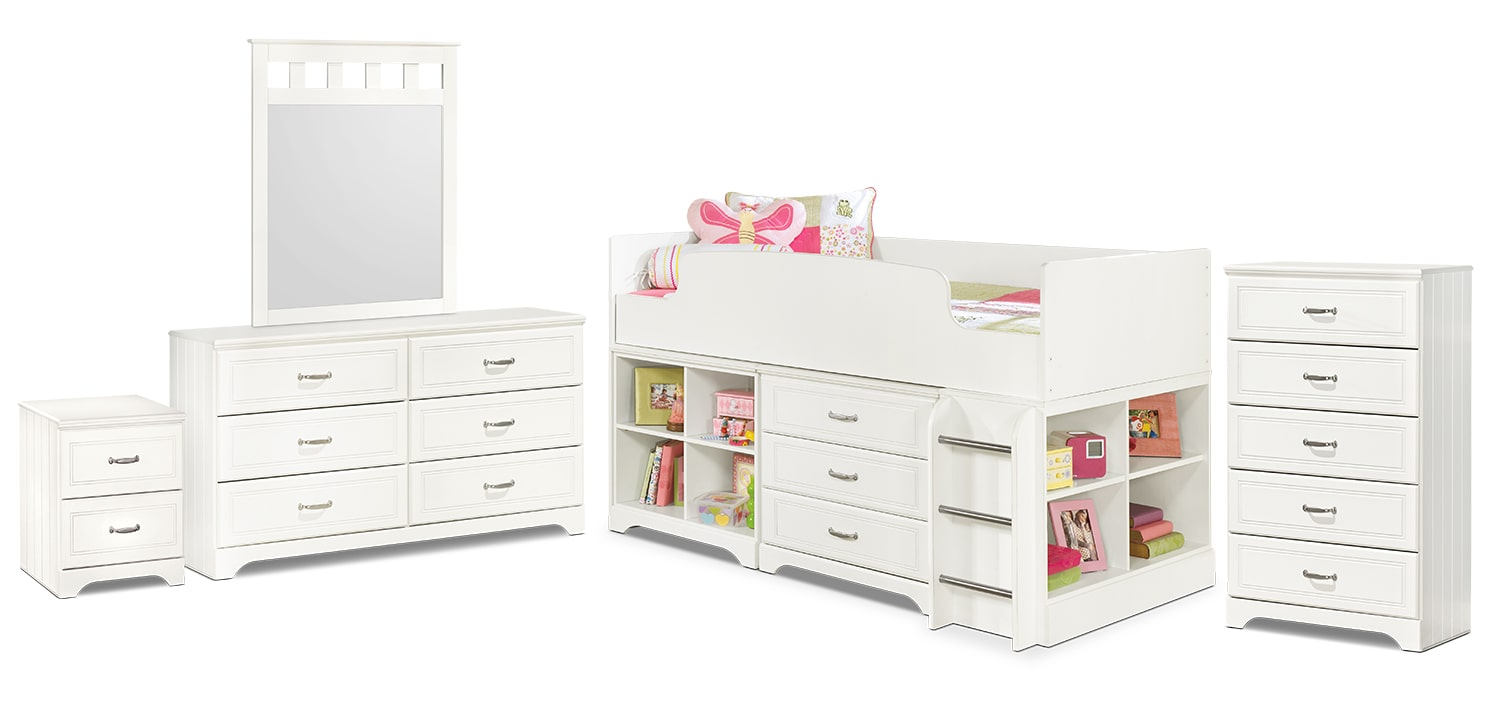 Kids Furniture - Lulu 7-Piece Twin Loft Bedroom Package