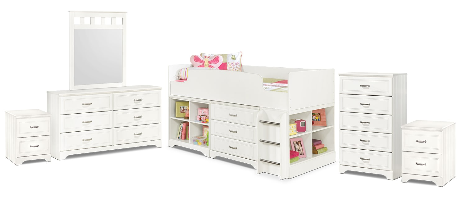 Kids Furniture - Lulu 8-Piece Twin Loft Bedroom Package