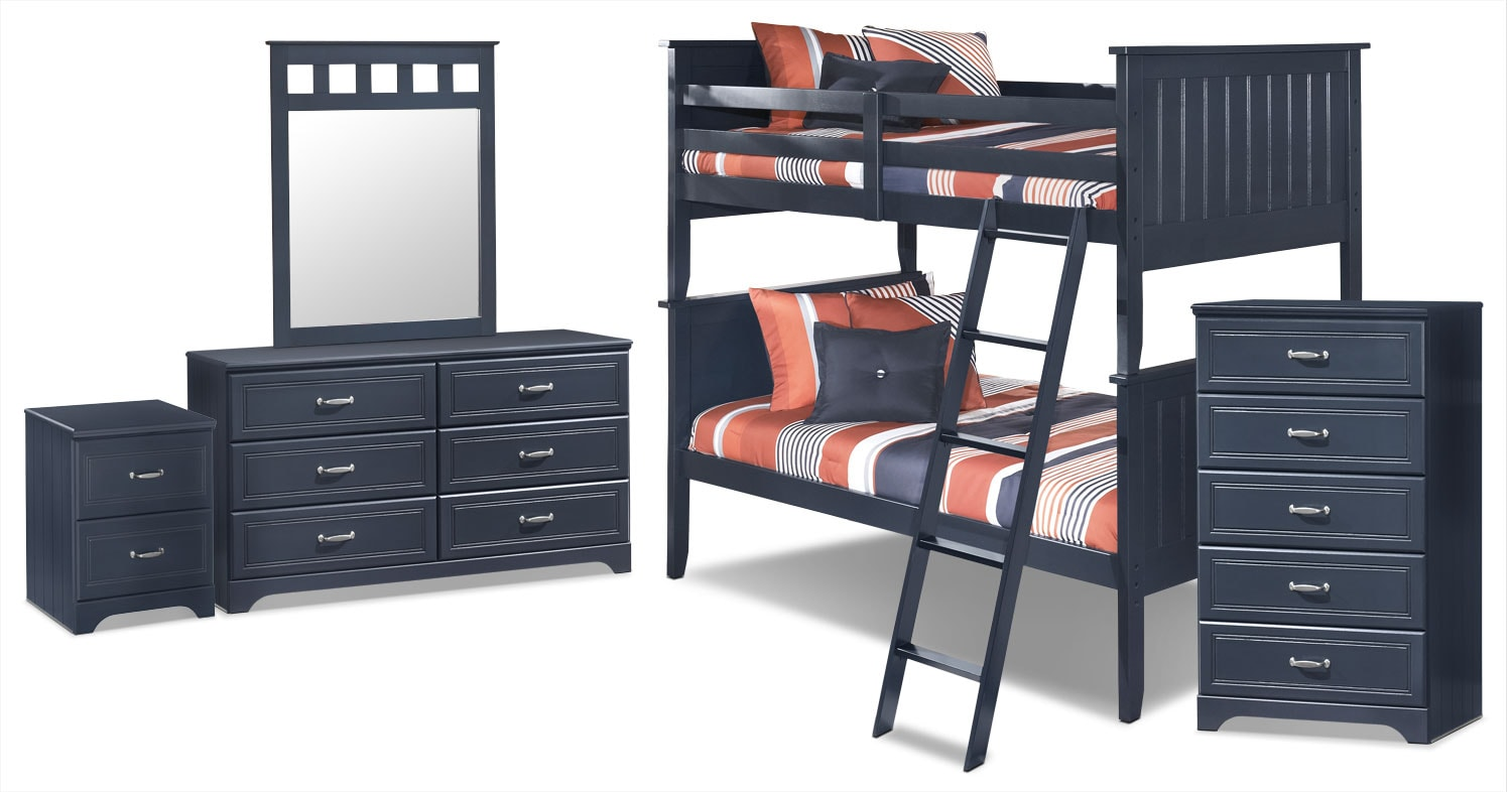 Kids Furniture - Leo 7-Piece Twin Bunk Bed Package