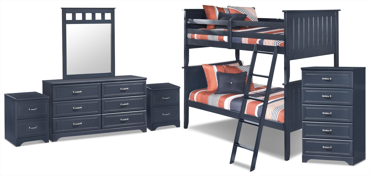 Kids Furniture - Leo 8-Piece Twin Bunk Bed Package