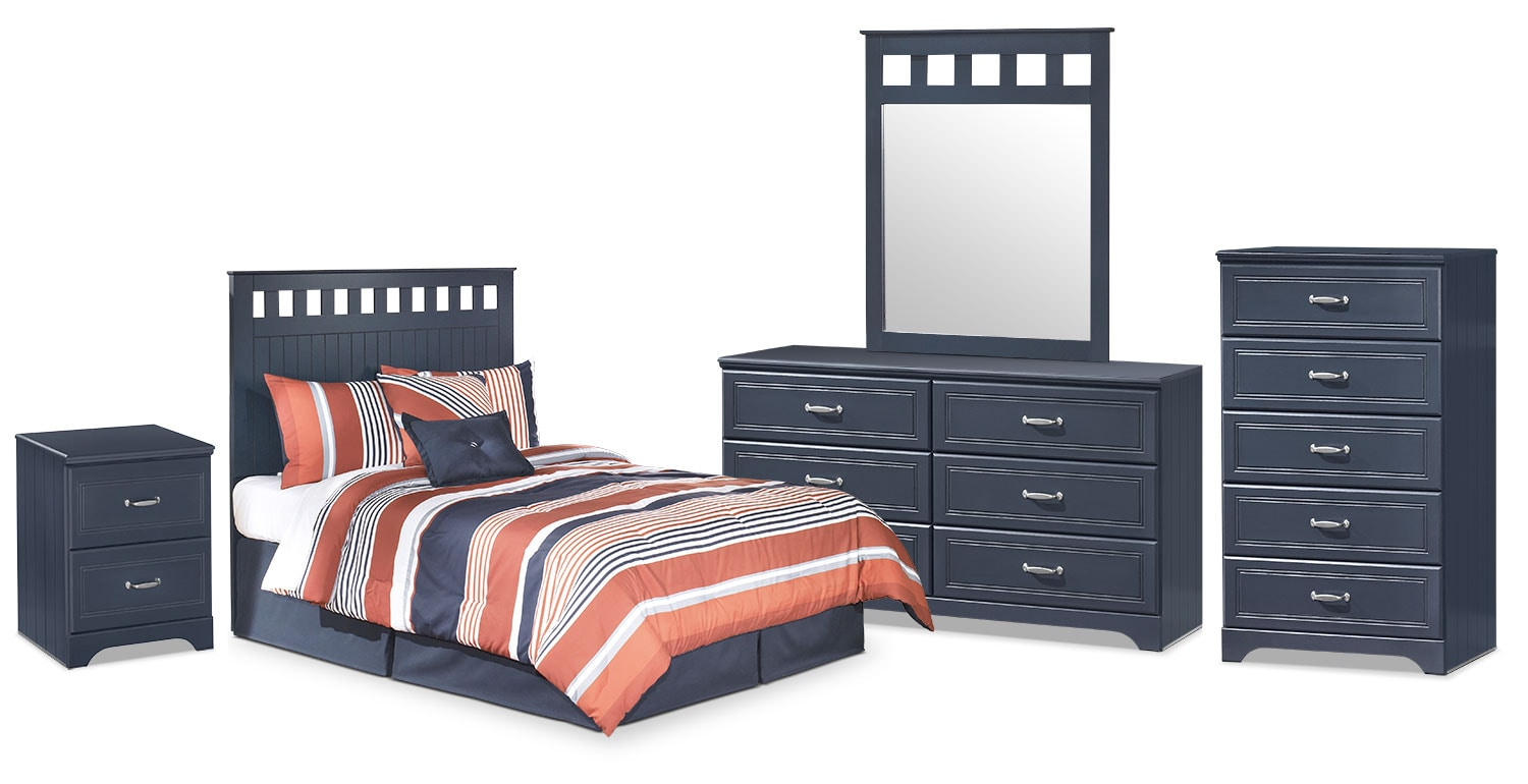 Kids Furniture - Leo 5-Piece Full Panel Headboard Package