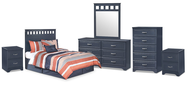 Kids Furniture - Leo 6-Piece Full Panel Headboard Package