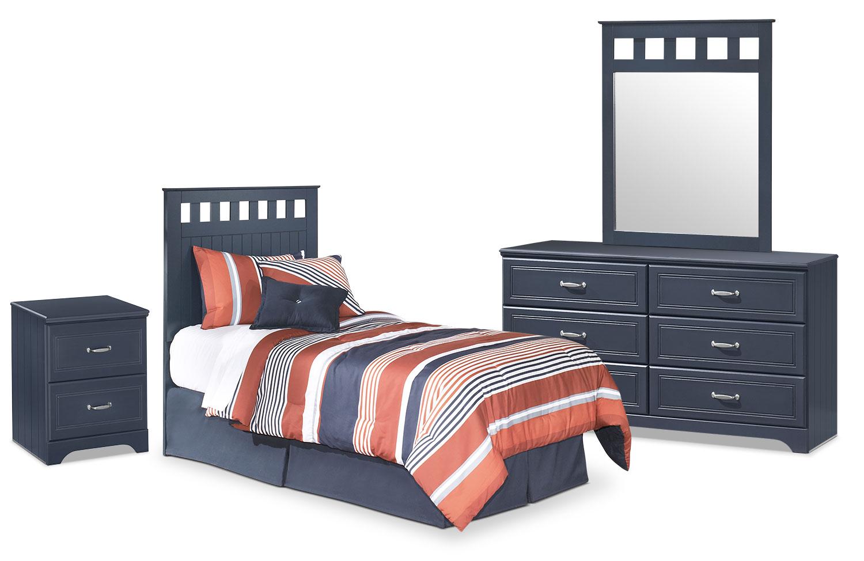 Ensemble de chambre à coucher Leo 4 pièces avec tête de lit à panneaux pour lit simple