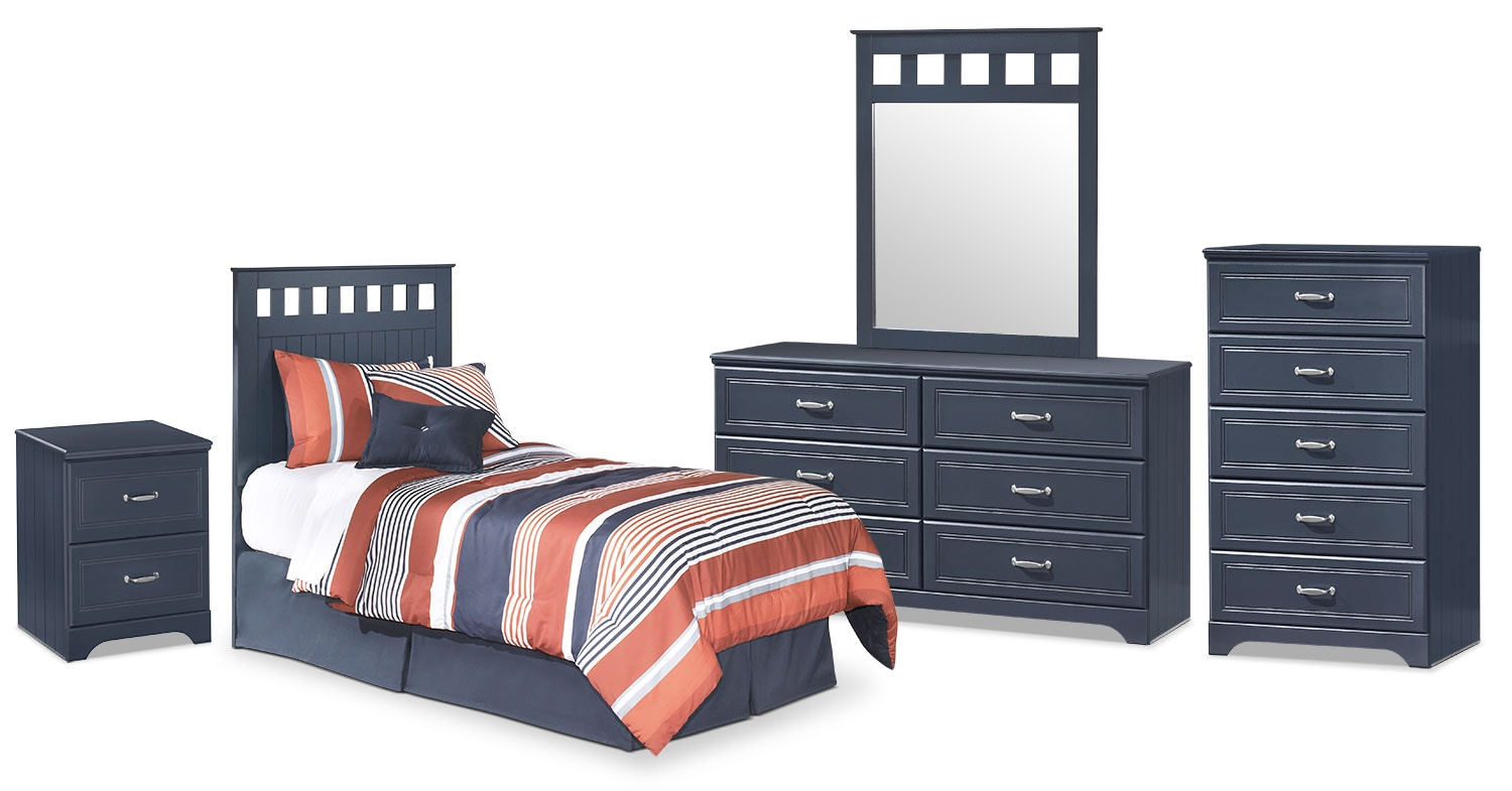 Kids Furniture - Leo 5-Piece Twin Panel Headboard Package