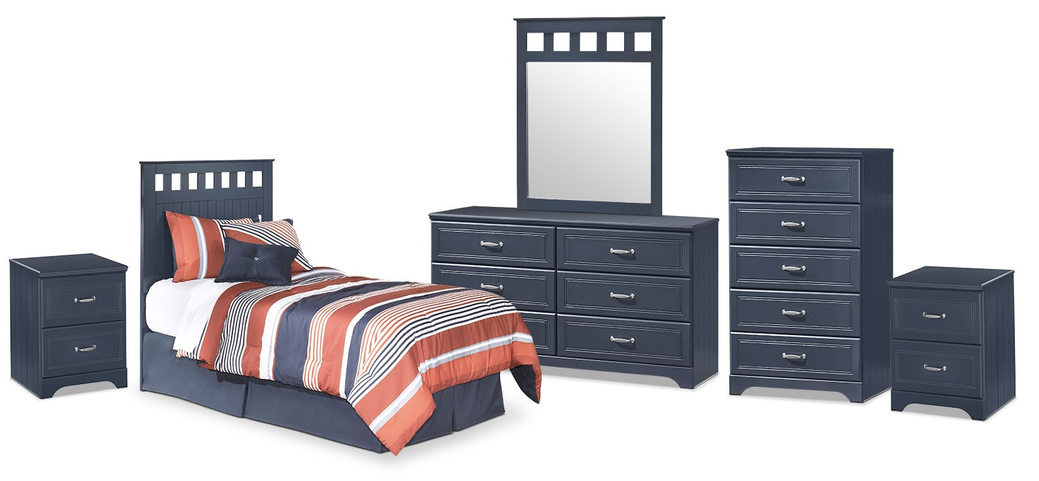 Kids Furniture - Leo 6-Piece Twin Panel Headboard Package