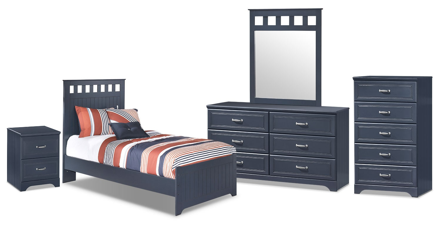 Kids Furniture - Leo 7-Piece Full Panel Bedroom Package