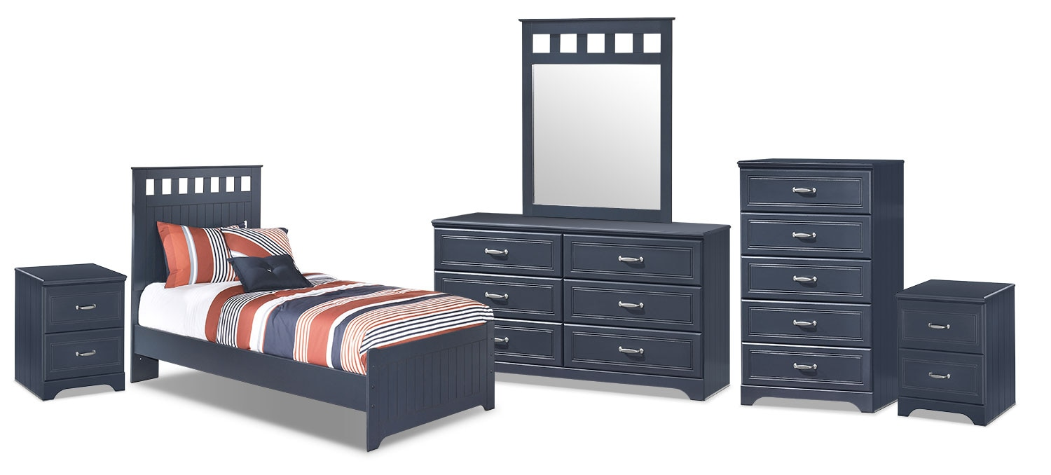 Kids Furniture - Leo 8-Piece Twin Panel Bedroom Package