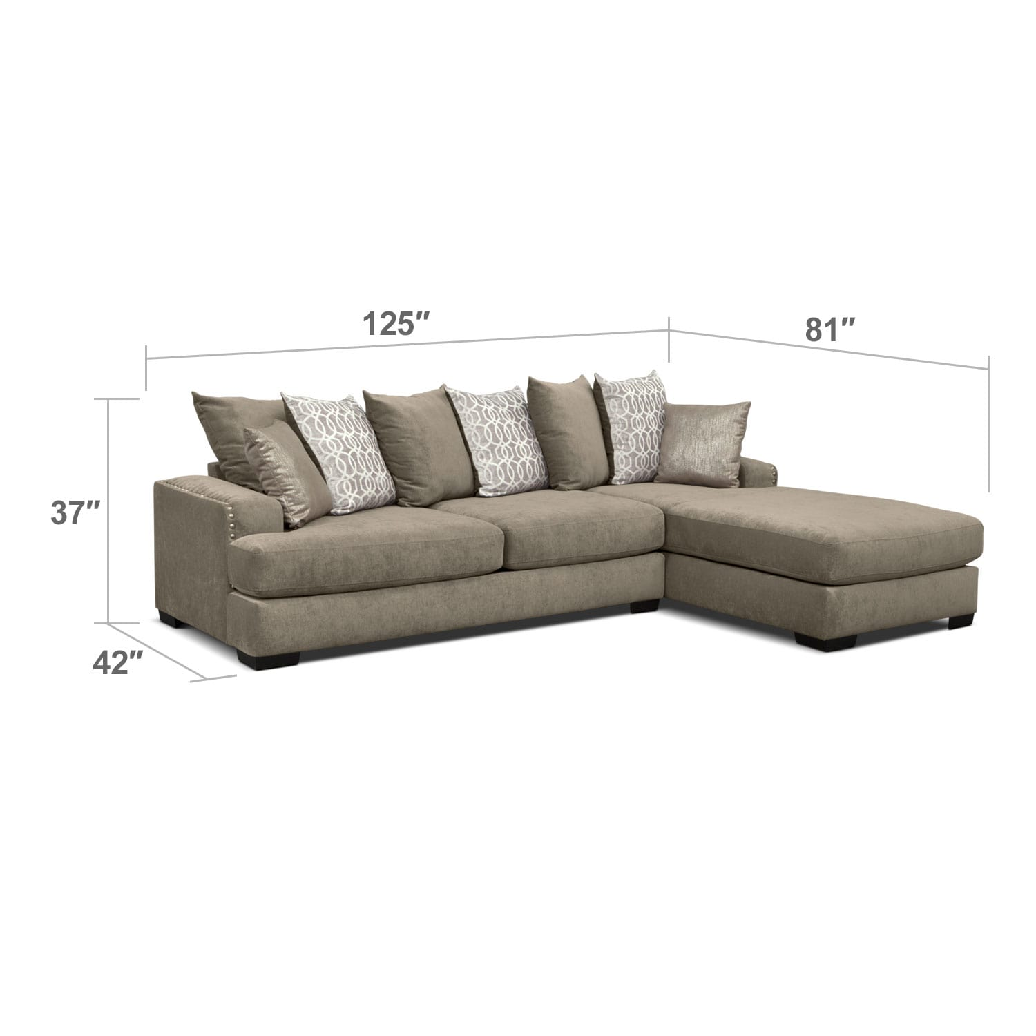 Tempo 2 Piece Sectional With Right Facing Chaise Platinum Value City Furniture