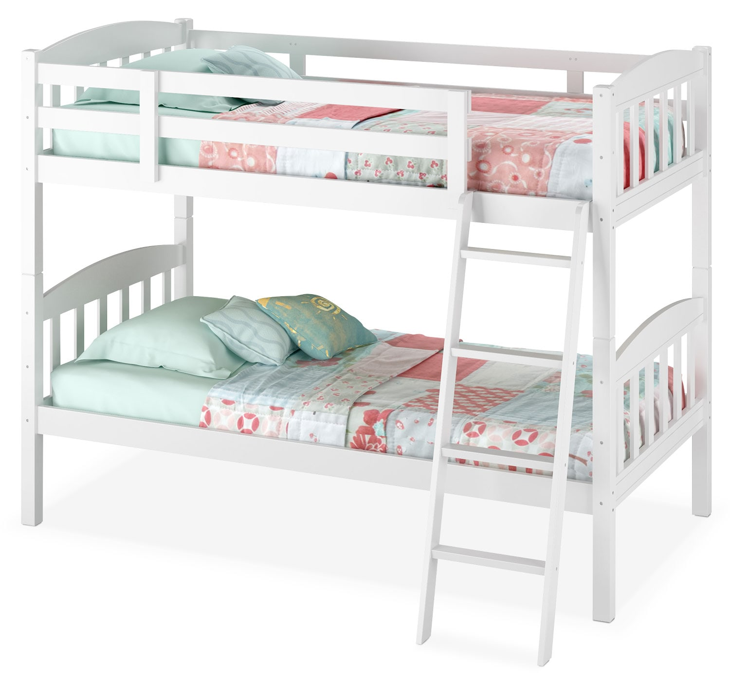 CorLiving Twin Bunk Bed with Slat Headboards – White