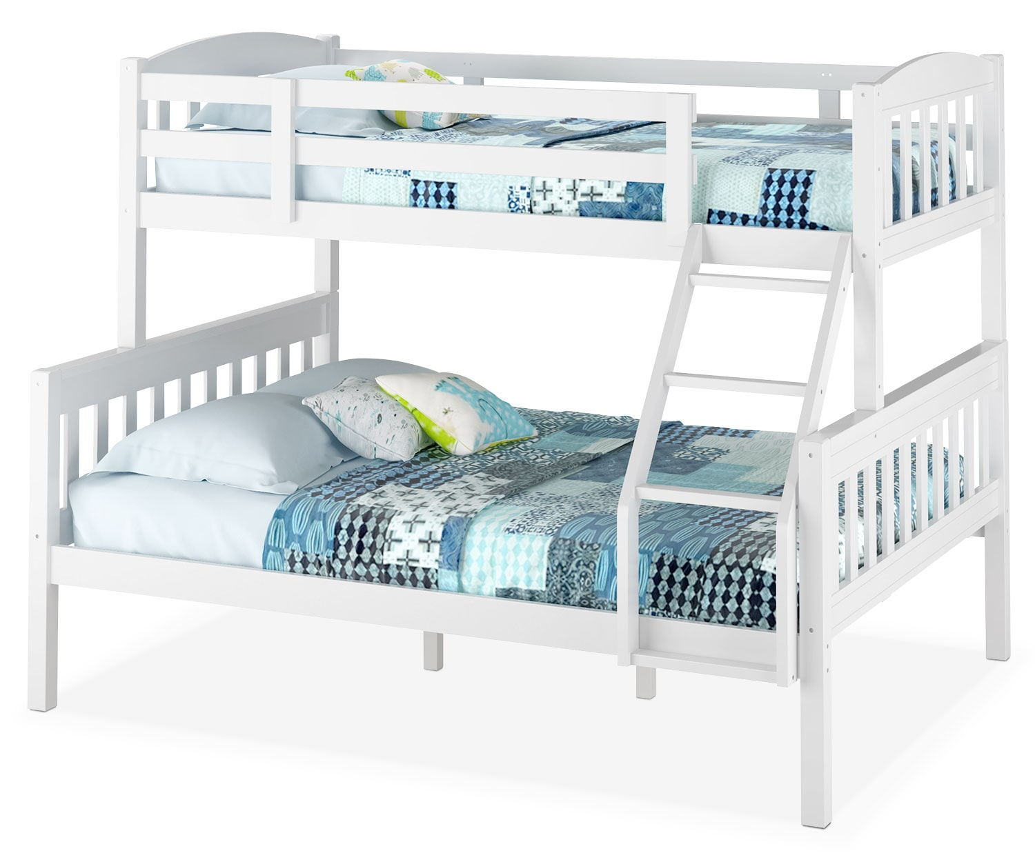 CorLiving Twin/Full Bunk Bed with Slat Headboards – White
