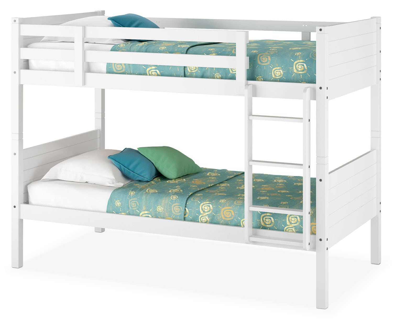 CorLiving Twin Bunk Bed with Panel Headboards – White