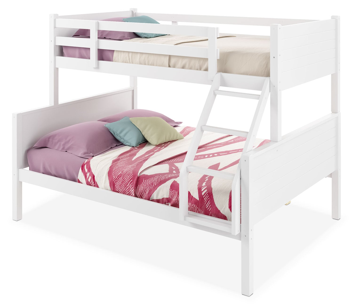 Kids Furniture - CorLiving Twin/Full Bunk Bed with Panel Headboards – White