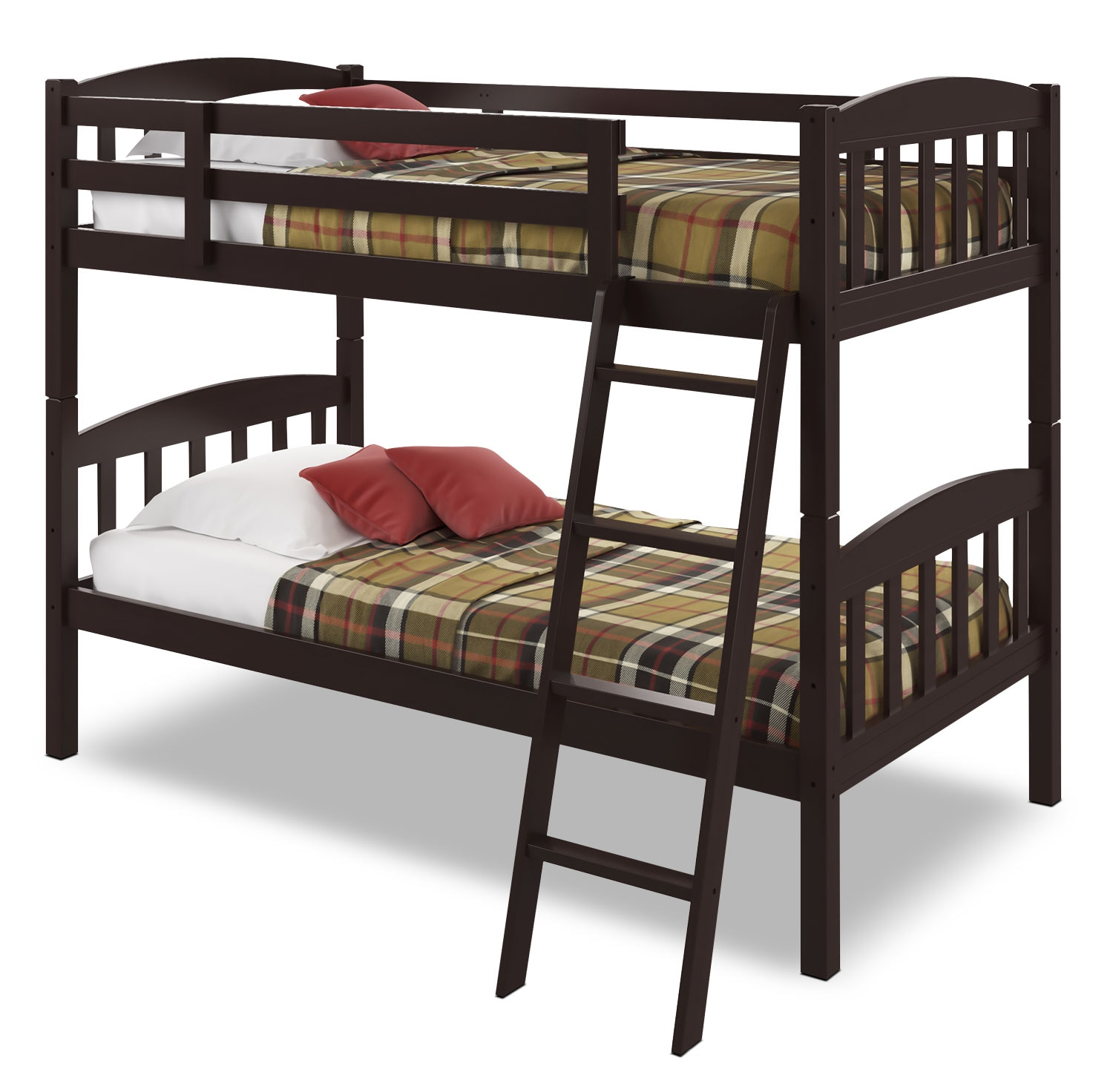 Kids Furniture - CorLiving Twin Bunk Bed with Slat Headboards – Dark Cappuccino