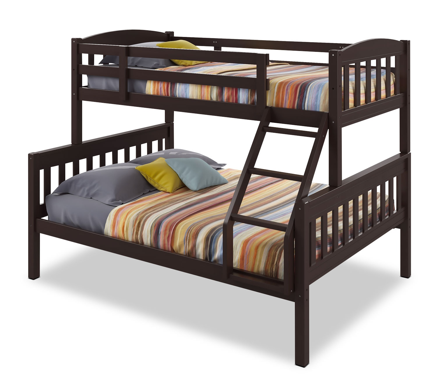 Kids Furniture - CorLiving Twin/Full Bunk Bed with Slat Headboards – Dark Cappuccino