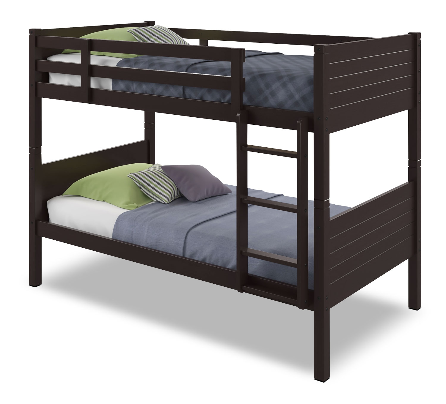 Kids Furniture - CorLiving Twin Bunk Bed with Panel Headboards – Dark Cappuccino
