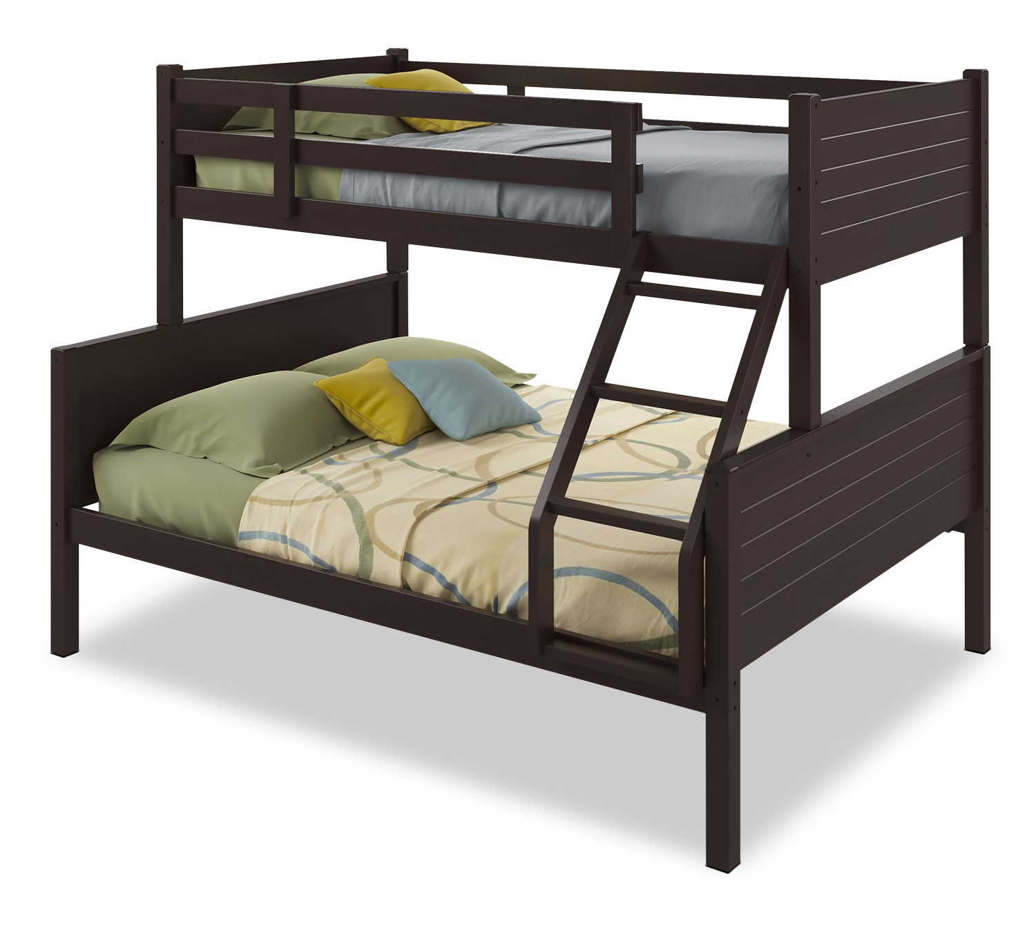 Kids Furniture - CorLiving Twin/Full Bunk Bed with Panel Headboards – Dark Cappuccino