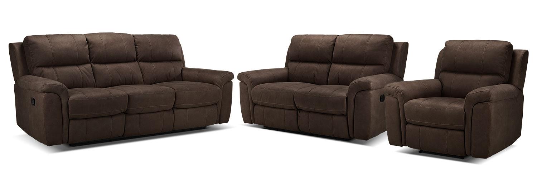 Roarke Reclining Sofa, Reclining Loveseat and Recliner Set - Walnut
