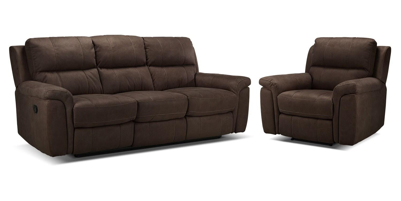 Roarke Reclining Sofa and Recliner Set - Walnut