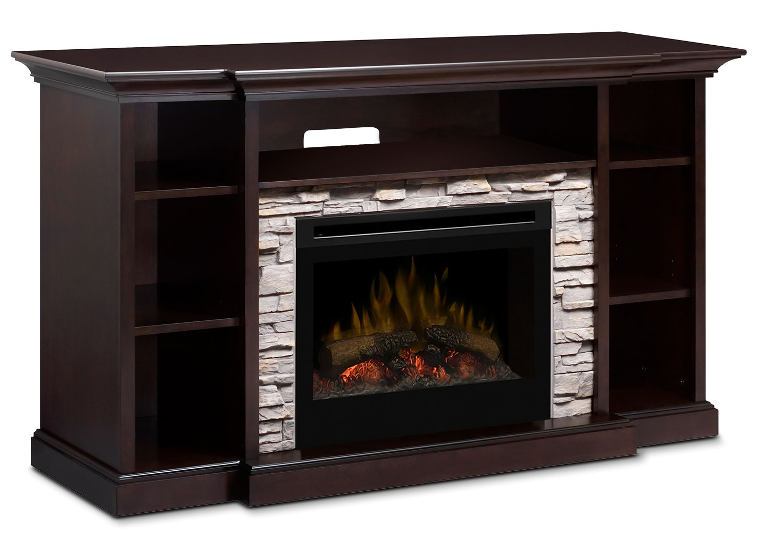 """Entertainment Furniture - Courtyard 64"""" TV Stand with Log Firebox"""