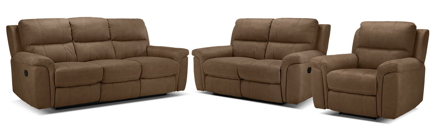 Roarke Reclining Sofa, Reclining Loveseat and Recliner Set - Tobacco
