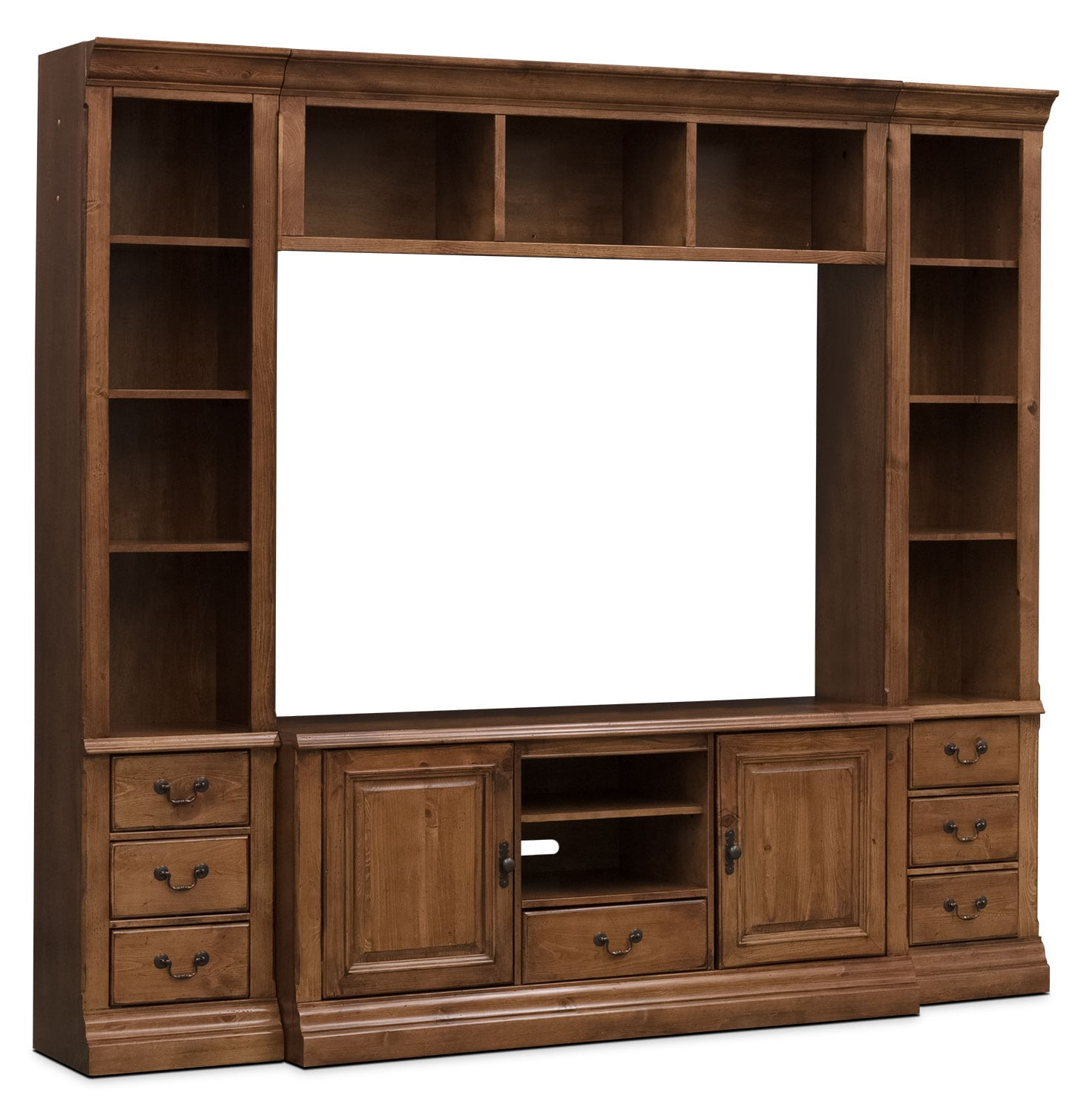 "Entertainment Furniture - Edgewood 4-Piece Bookcase Entertainment Centre with 60"" TV Opening"