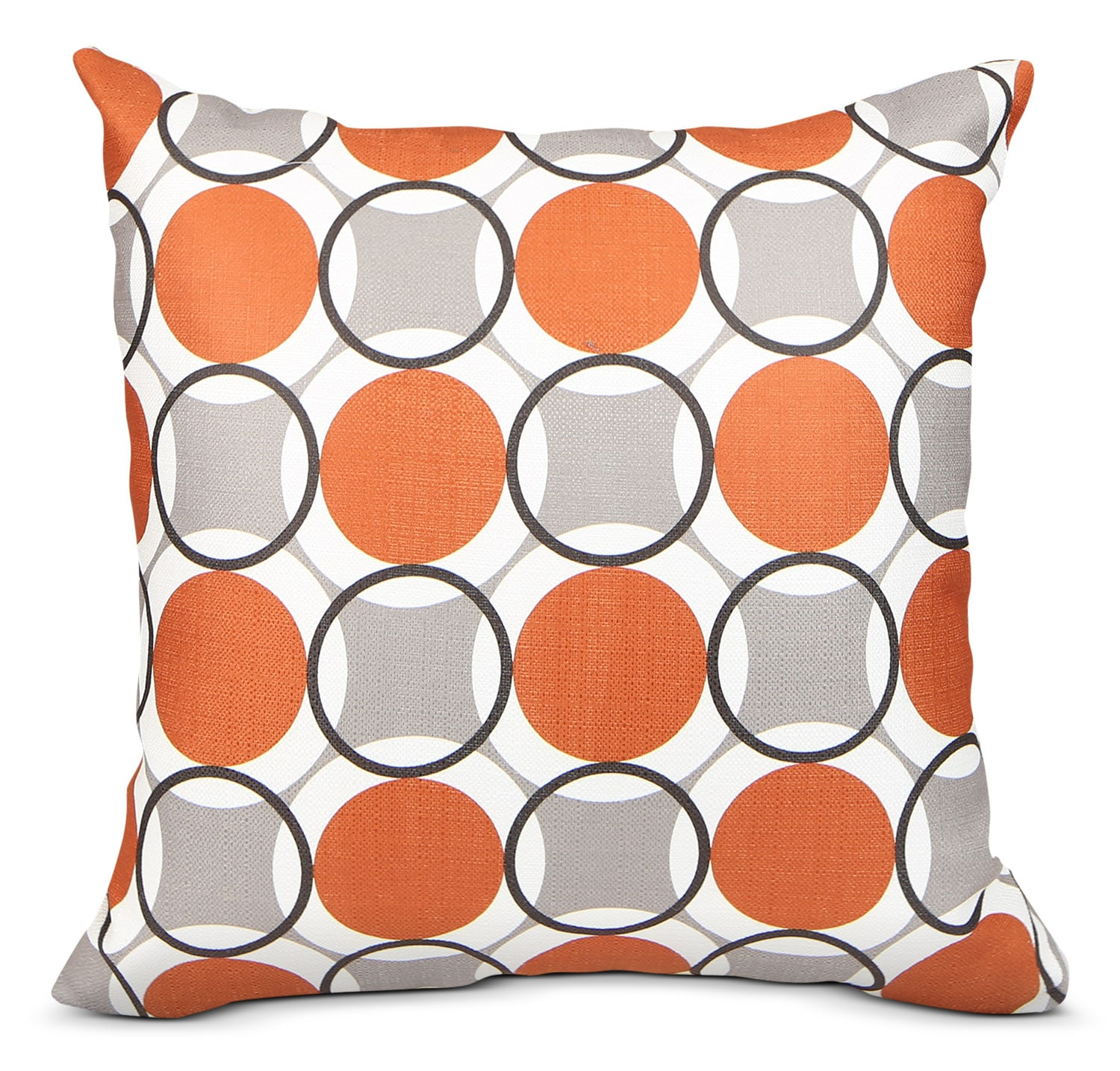 Kaleidoscope Accent Pillow – Grey, Orange and White