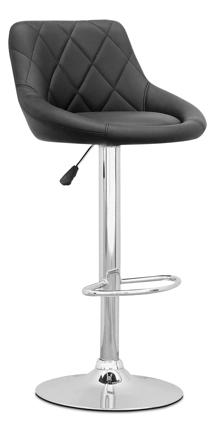 Adjustable Diamond-Back Barstool – Black Leatherette