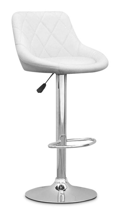Adjustable Diamond-Back Barstool – White Leatherette