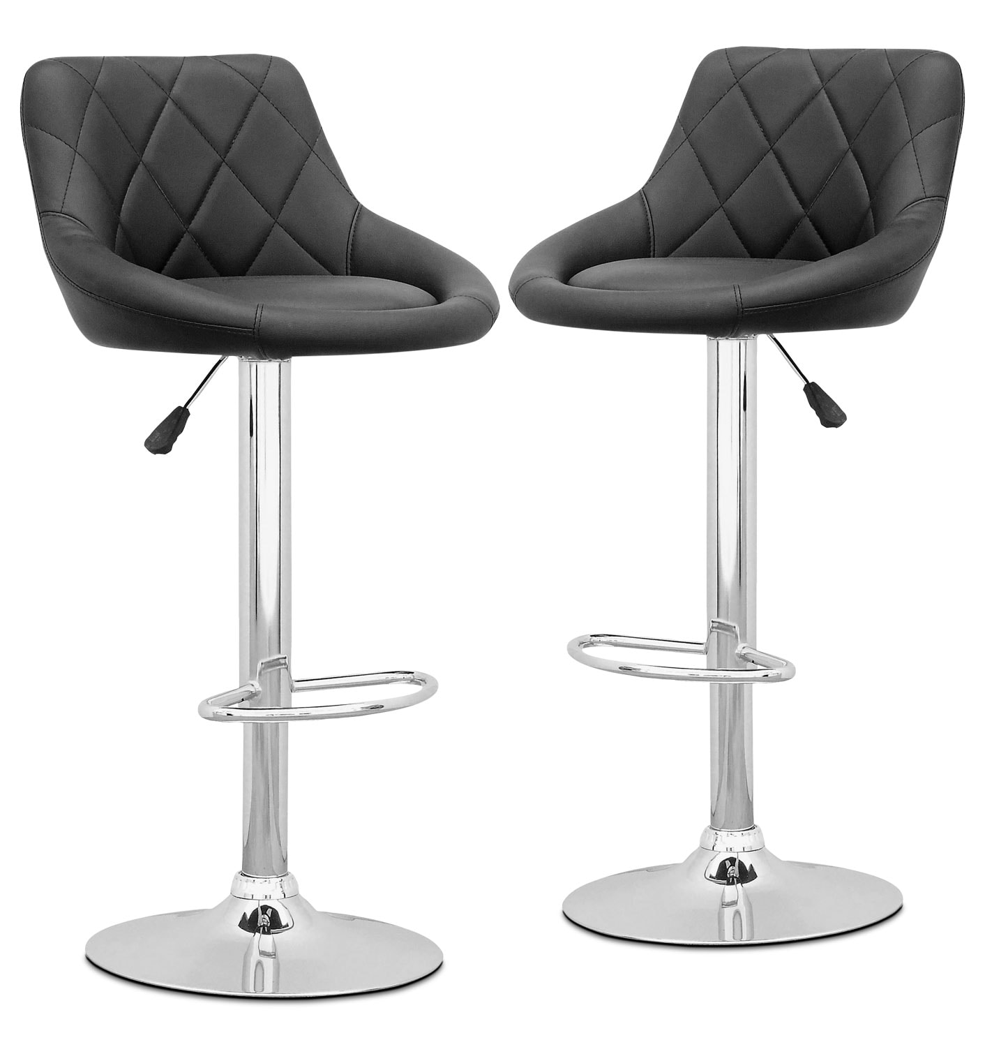 Adjustable Diamond-Back Bar Stool, Set of 2 – Black