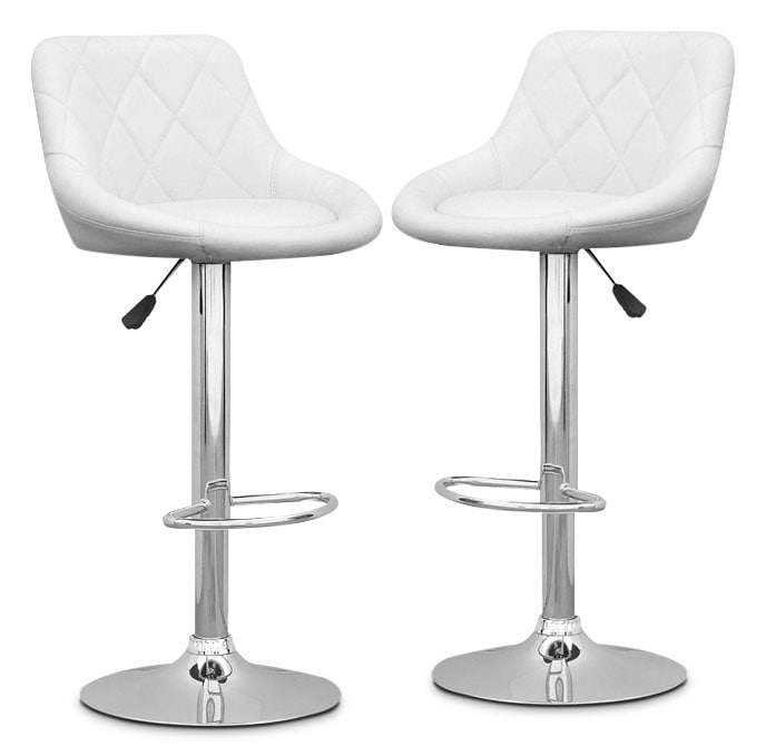 Adjustable Diamond-Back Bar Stool, Set of 2 – White