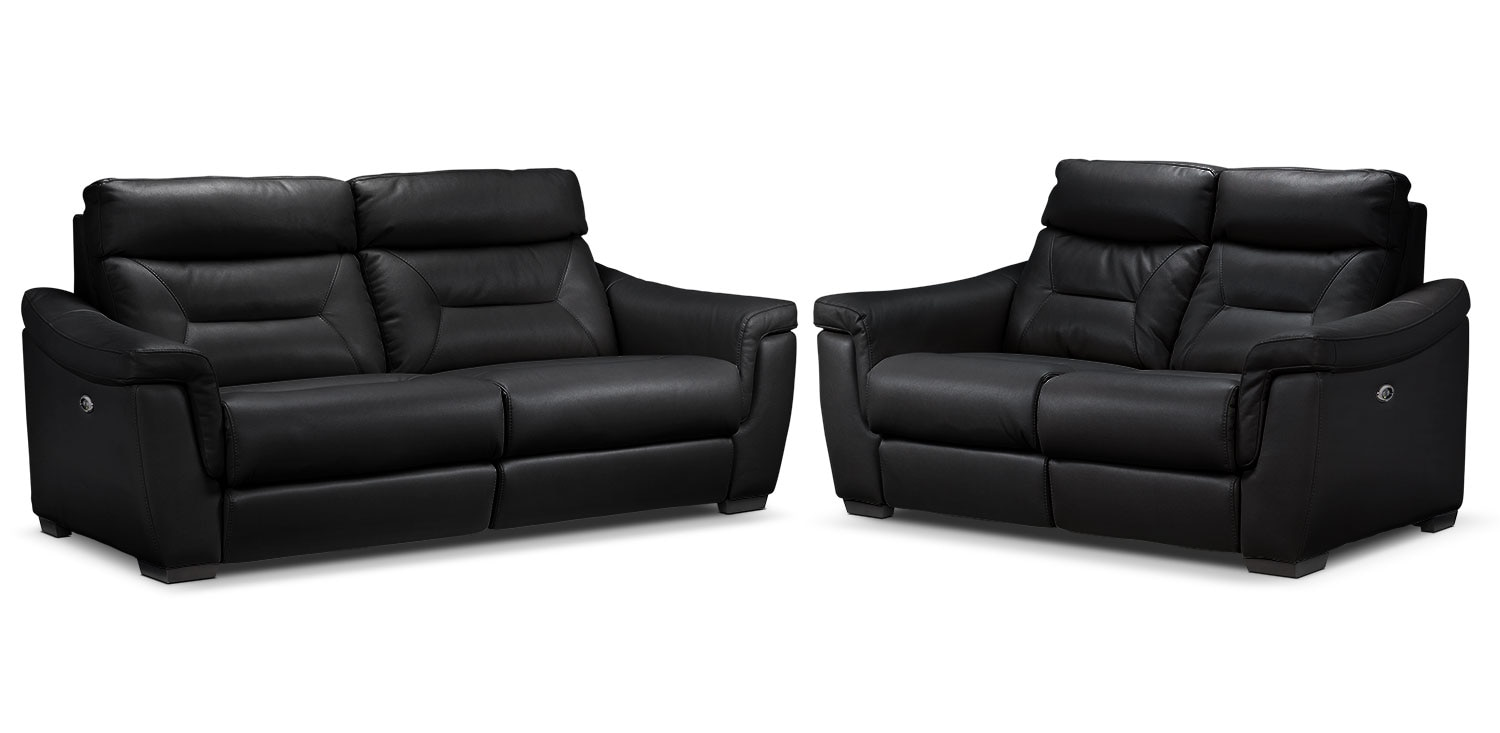 Ralston Power Reclining Sofa and Power Reclining Loveseat Set - Black