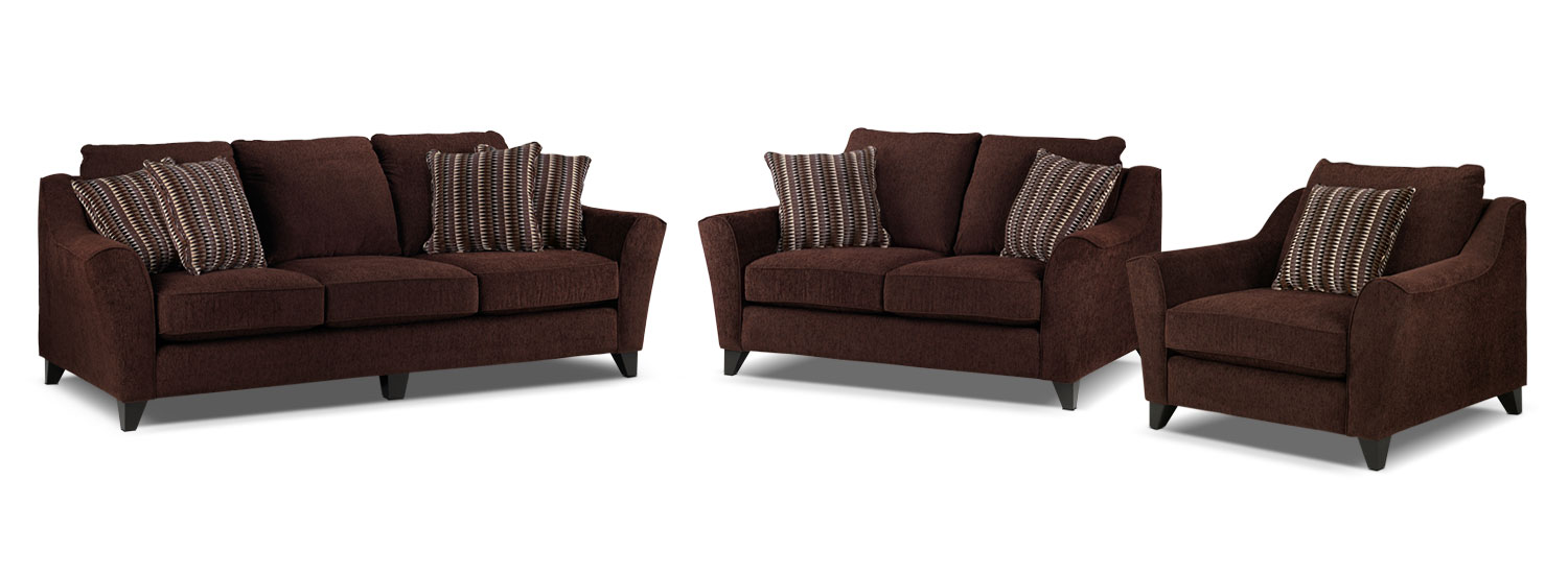 Alijon Sofa, Loveseat and Chair and a Half Set - Espresso