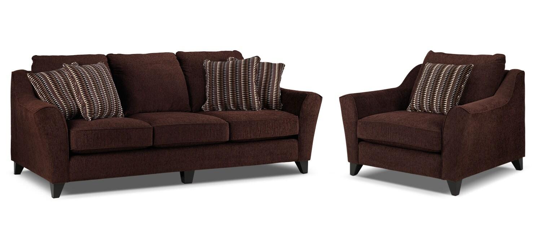 Alijon Sofa and Chair and a Half Set  - Espresso