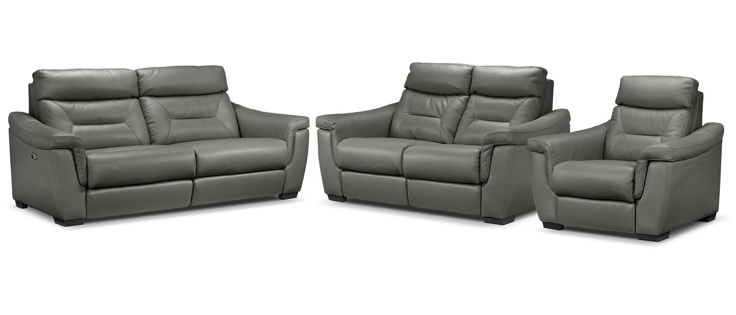 Ralston Power Reclining Sofa, Power Reclining Loveseat and Recliner Set - Graphite