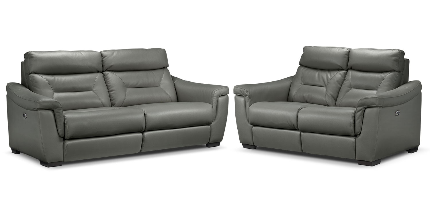 Ralston Power Reclining Sofa and Power Reclining Loveseat Set - Graphite