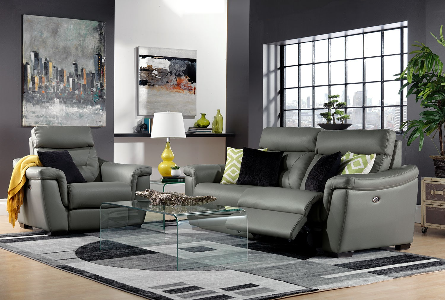 Ralston Power Reclining Sofa and Power Recliner Set - Graphite