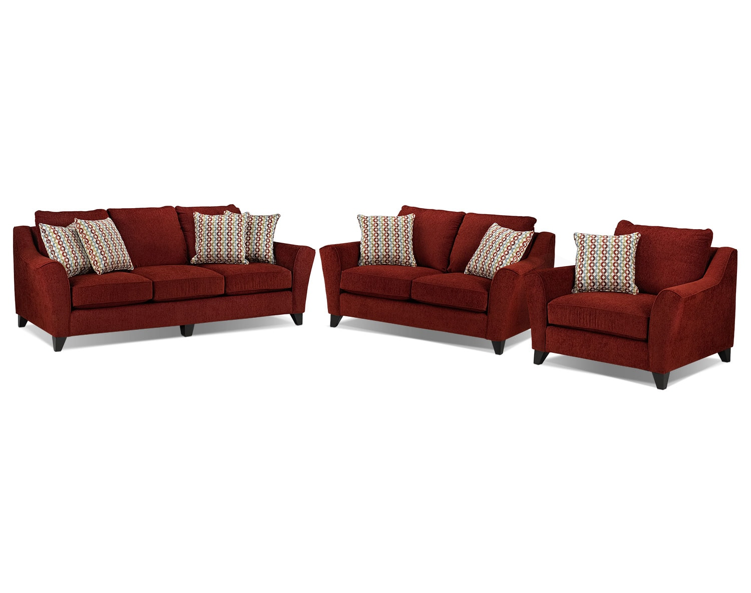 Alijon Sofa, Loveseat and Chair and a Half Set - Red