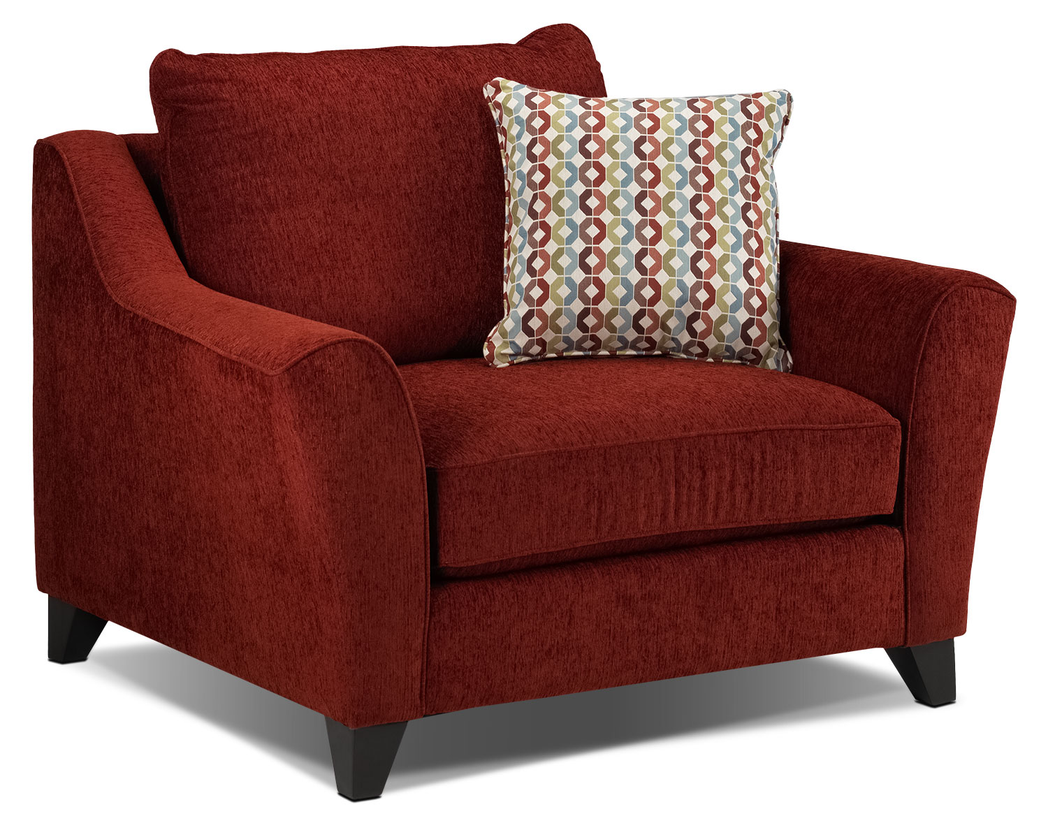 Living Room Furniture - Alijon Chair and a Half - Red