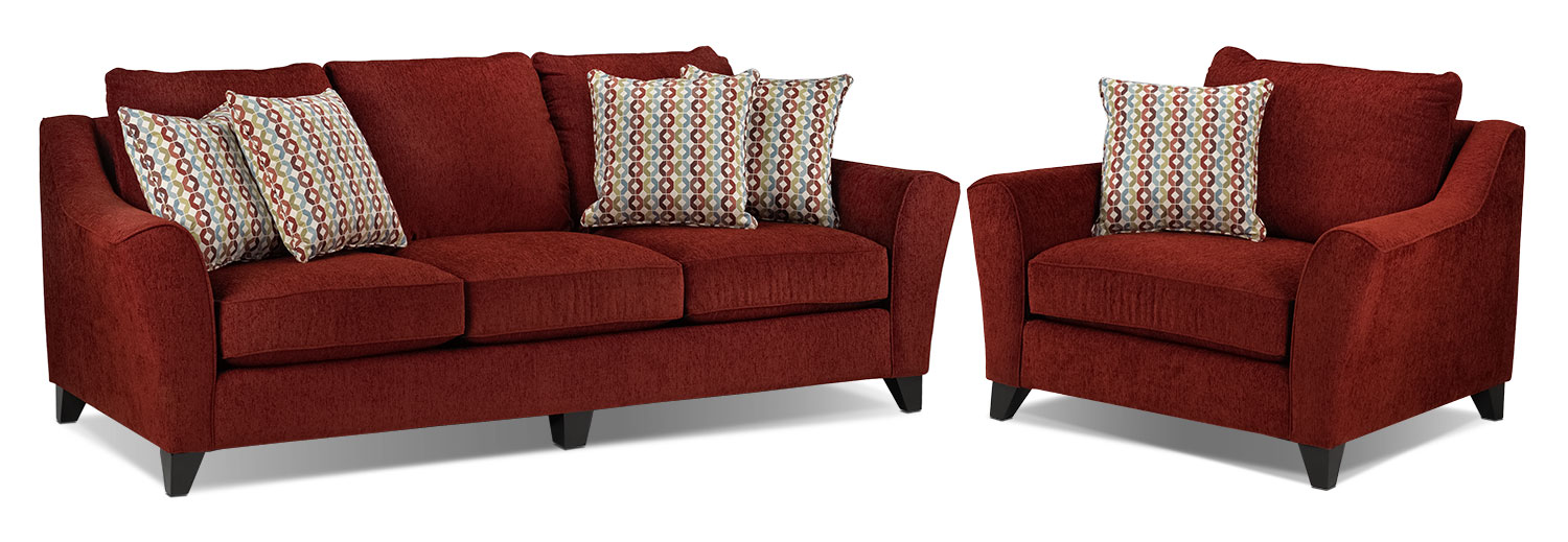 Alijon Sofa and Chair and a Half Set - Red