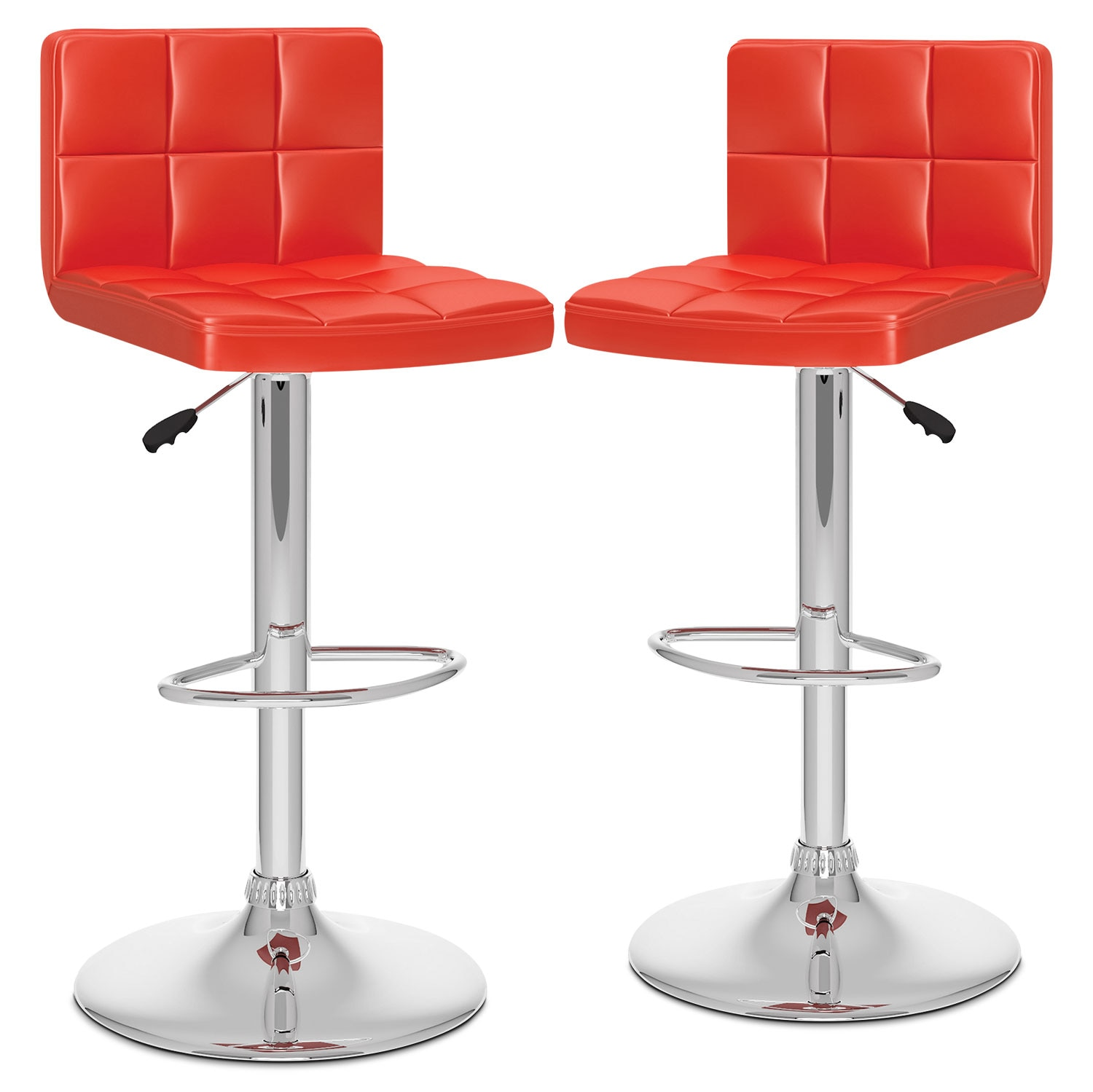 CorLiving High-Back Adjustable Bar Stool, Set of 2 – Red