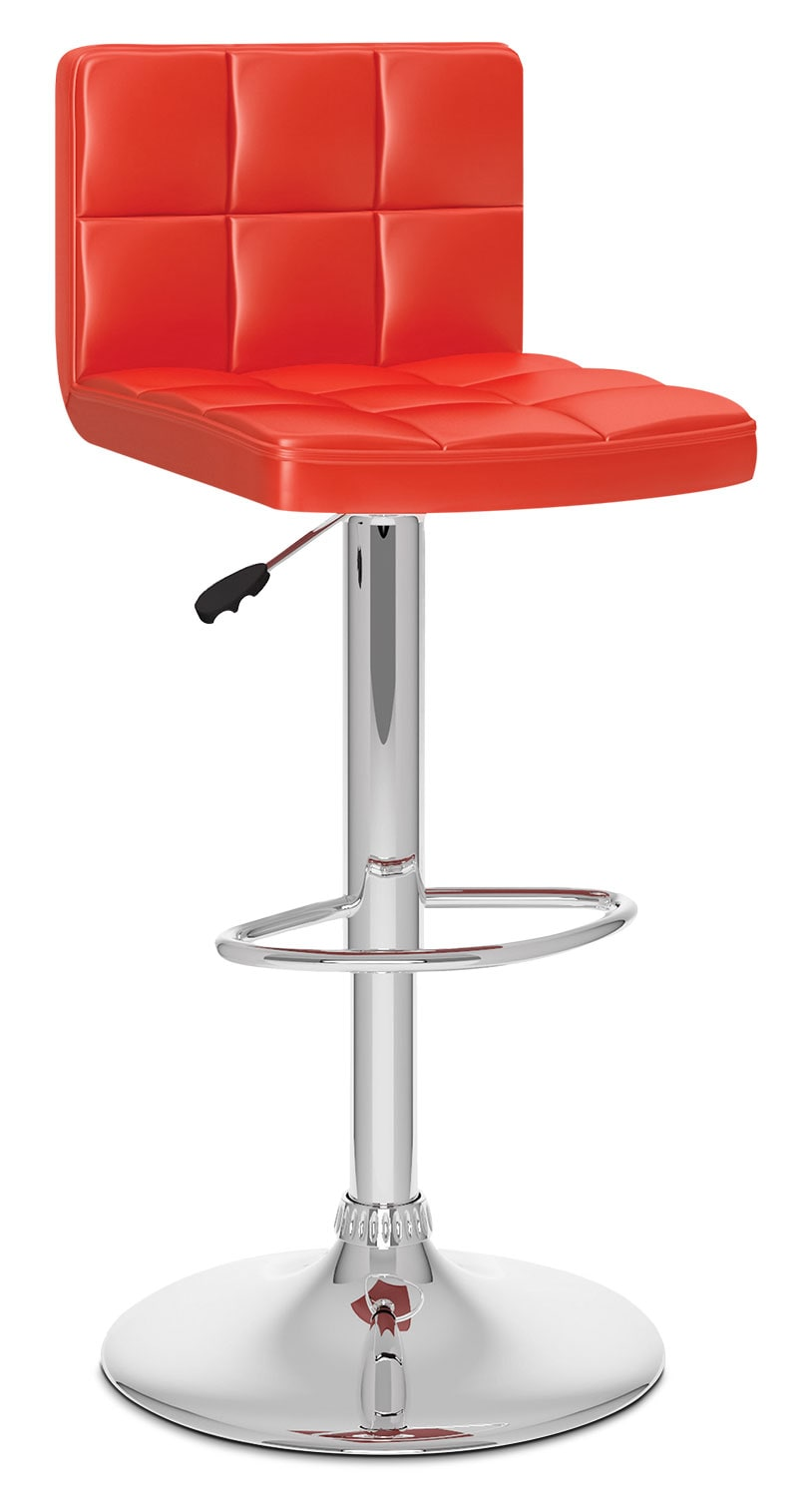Dining Room Furniture - CorLiving High Back Adjustable Bar Stool - Red