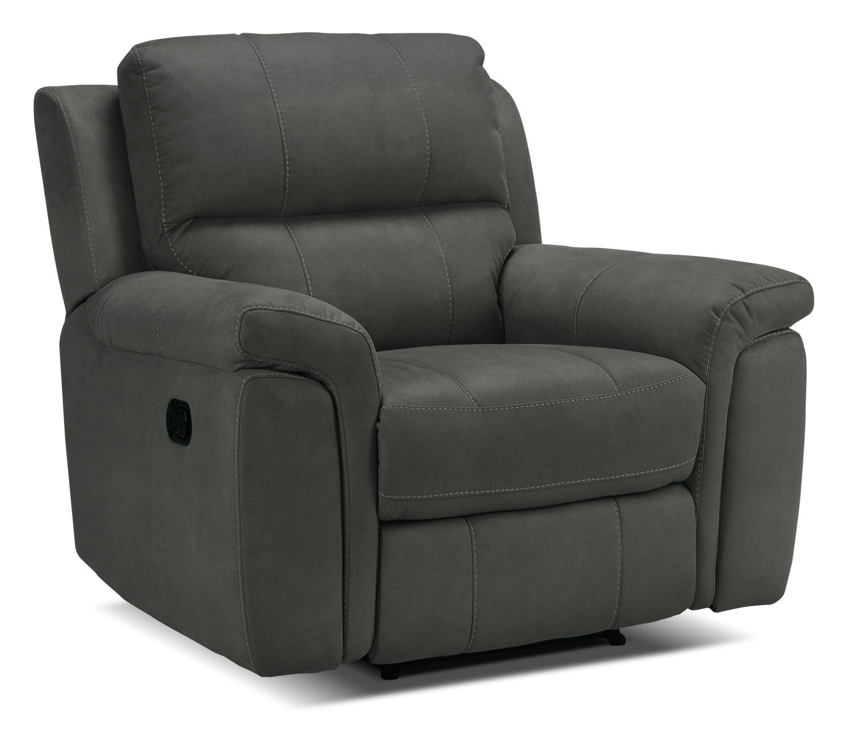 Living Room Furniture - Roarke Recliner - Charcoal