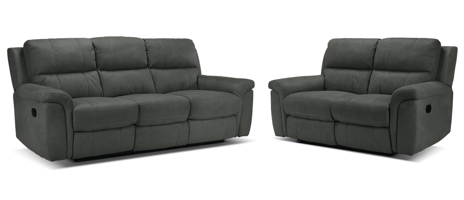 Roarke Reclining Sofa and Reclining Loveseat Set - Charcoal