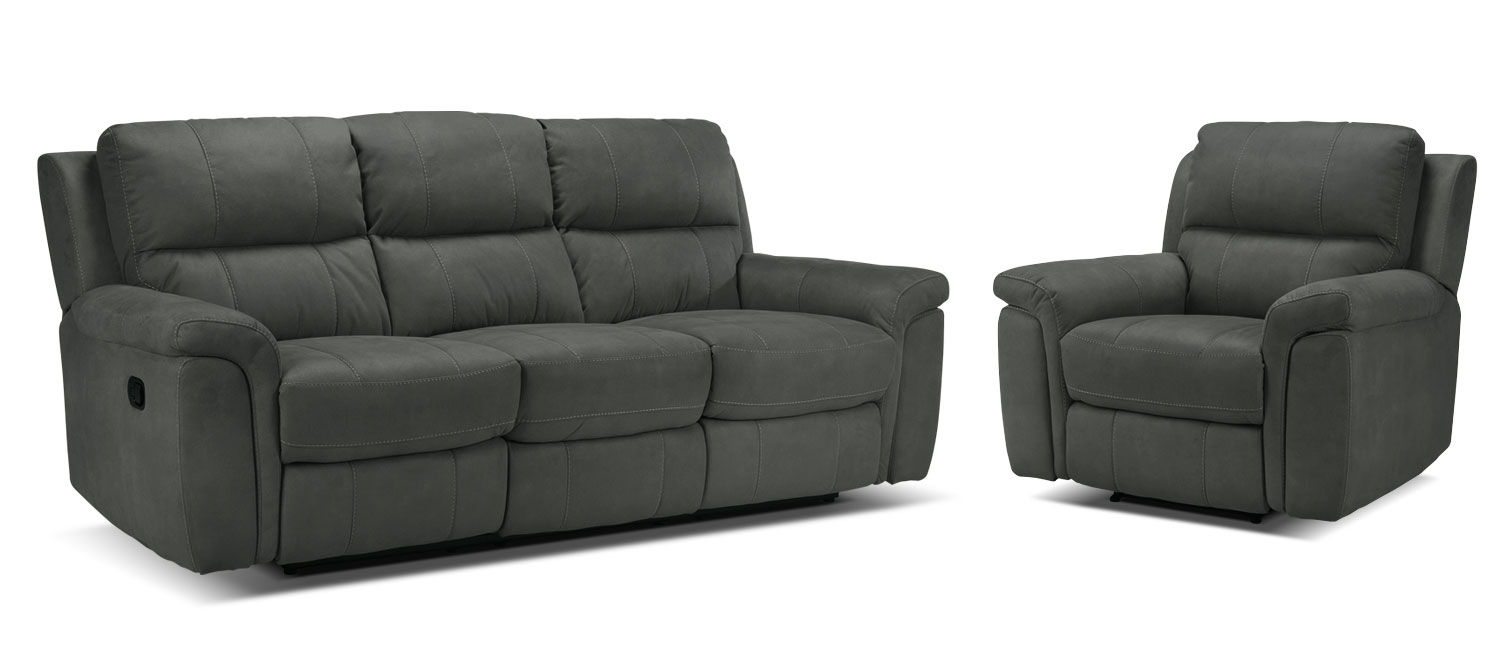 Roarke Reclining Sofa and Recliner Set - Charcoal